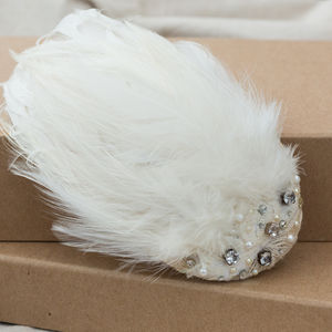 Feathered Crystal And Pearl Winter Bridal Headpiece