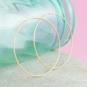 Large Thread Hoops In Gold, Silver And Rose Gold