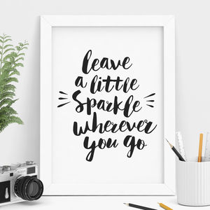 'Leave A Little Sparkle' Typography Print
