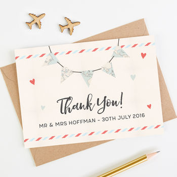 Travel Collection Map Bunting Thank You Card