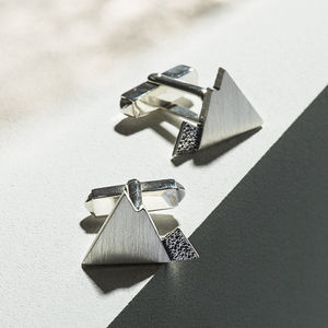 Handmade Sterling Silver Mountain Cufflinks - best father's day gifts