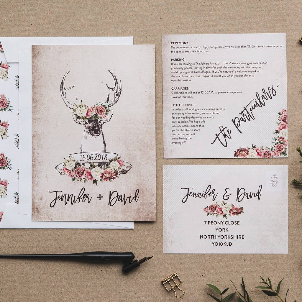 Stag And Rose Country Wedding Invitation Set By I Am Nat