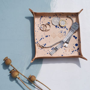 Large Personalised Leather Tray With Blue Flick Detail - jewellery storage & trinket boxes