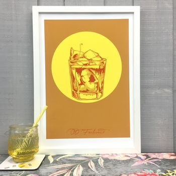 Old Fashioned Cocktail Giclée Fine Art Print