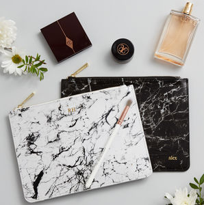 Personalised Monogram Marble Leather Pouch - gifts for travel-lovers