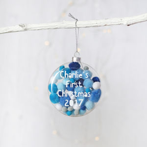 Blue Pom Pom 1st Christmas Bauble