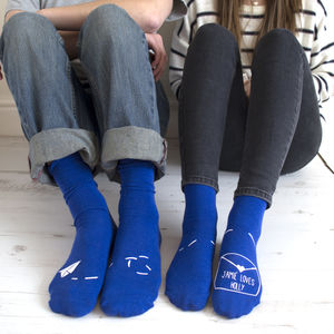 Personalised His And Hers Paper Aeroplane Socks - gifts for her