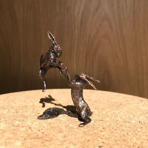 Miniature Solid Bronze Boxing Hares Sculpture