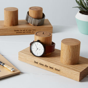 Personalised Solid Oak Double Watch Stand - watch storage