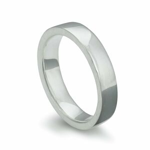 Silver Flat Wedding Ring Heavy Weight