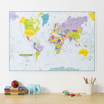 Glow In The Dark Kids World Map Illuminates At Night