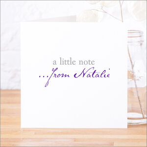 Single Or Pack Of Personalised 'Little Note' Cards D1