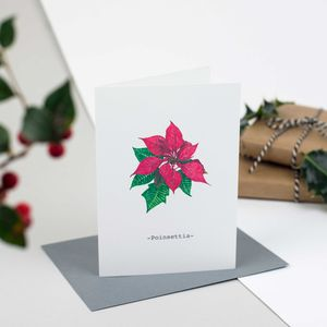 Poinsettia Personalised Illustrated Christmas Card