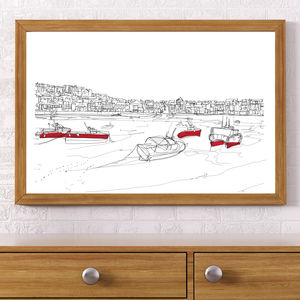 St Ives Boats Signed Print