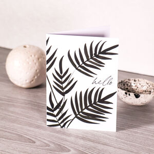 Hello Black And White Greeting Card