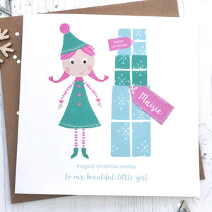 Personalised Elf Girl Christmas Card