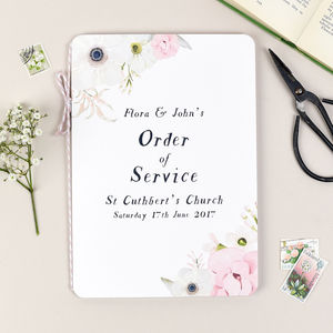 Blush Floral Wedding Order Of Service Booklet