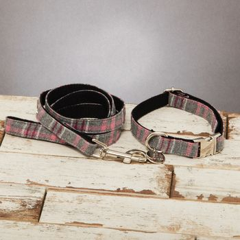 The Winchester Grey Pink Checked Dog Collar Lead Set