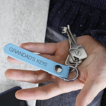 Personalised Leather Keyring For Grandad