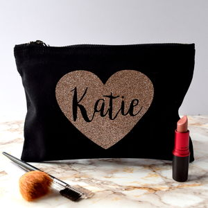 Personalised Sparkly Rose Gold Heart Make Up Bag - winter sale