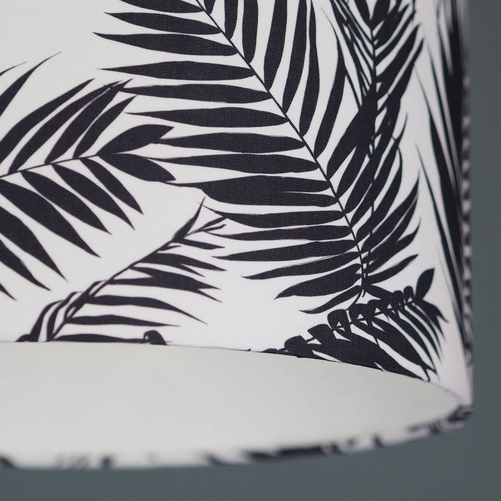 Black And White Tropical Leaf Drum Lampshade By Quirk