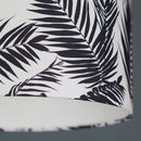 Black And White Tropical Leaf Drum Lampshade