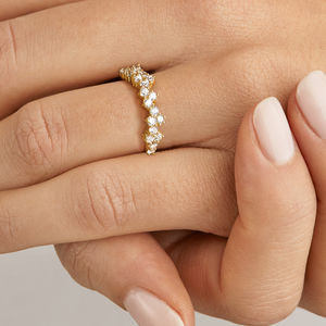 Gold Or Silver Diamond Style Cluster Ring - rings