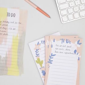 Abstract Floral 'Notes' List Pad - notepads & to do lists