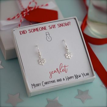 Snowflake dangle earrings someone say snow