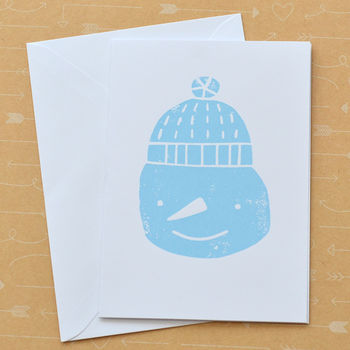 Snowman Screenprinted Christmas Card And Card Packs