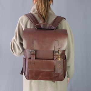 Personalised Leather Book Backpack