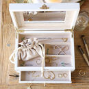Personalised Initials White Embroidered Jewellery Box