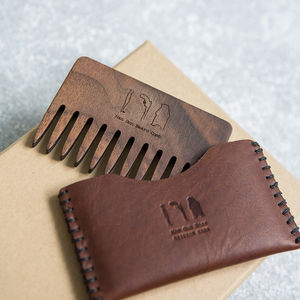 Personalised Wood Beard Comb And Leather Pouch - gifts for fathers