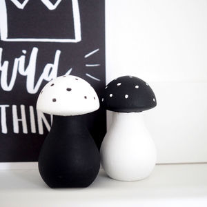 Personalised Wooden Mushroom Pair