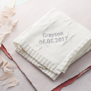 Personalised Jacquard Knit Blanket - personalised gifts for babies
