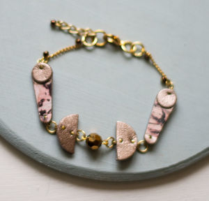 Lunar Moon Marbled Leather Cutout Shape Bracelet - bracelets & bangles