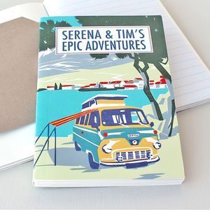Personalised Beach Camper Travel Journal - notebooks & journals
