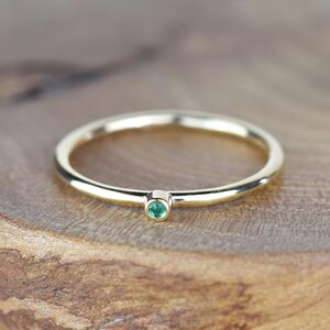 Solid 9ct Gold Custom Single Birthstone Stacking Ring