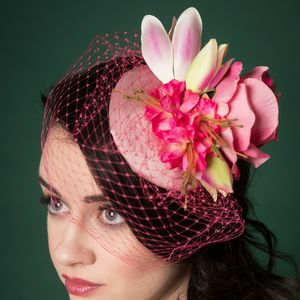 Vintage Style Floral Fascinator With Pink Veil - hats & fascinators