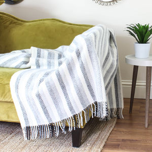 Black And Grey Stripe Wool Throw