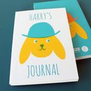 Personalised Notebook Dog In Hat