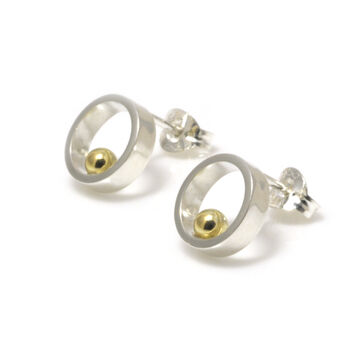 Silver With Gold Ball Open Circle Stud Earrings