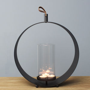 Black Round Lantern With Leather Handle