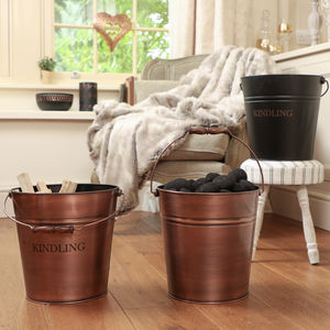 Personalised Burnished Copper Fireside Bucket - fireplace accessories