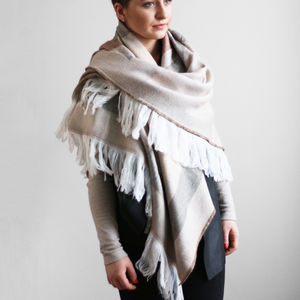 Oversized Statement Shawl With Soft Trim - gifts for friends