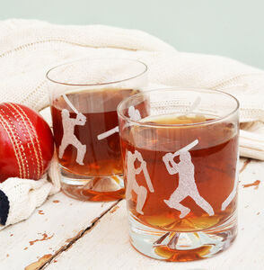 Cricket Batsmen Etched Glass Tumbler