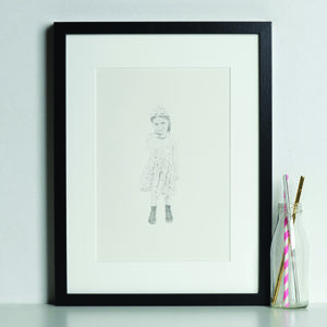 Personalised Child Portrait Example In Graphite - posters & prints