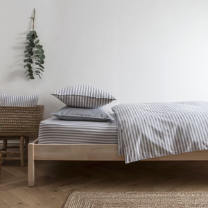 Ticking Stripe Blue Grey Duvet Cover