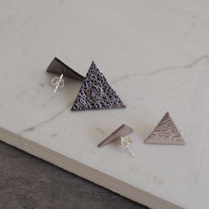 Triangle Geometric Leather Stud Earrings St Silver - earrings