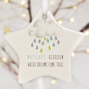 Dreams Door Sign Keepsake Porcelain Ceramic Star - tree decorations